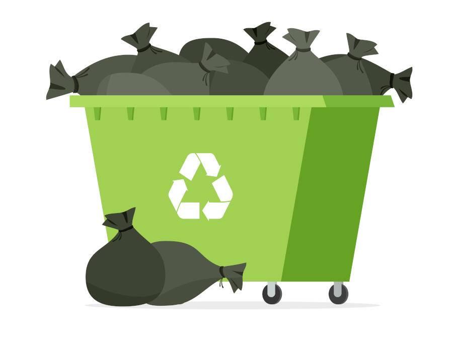 Overflowing green rubbish skip