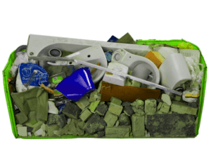 Skip bag cross section waste