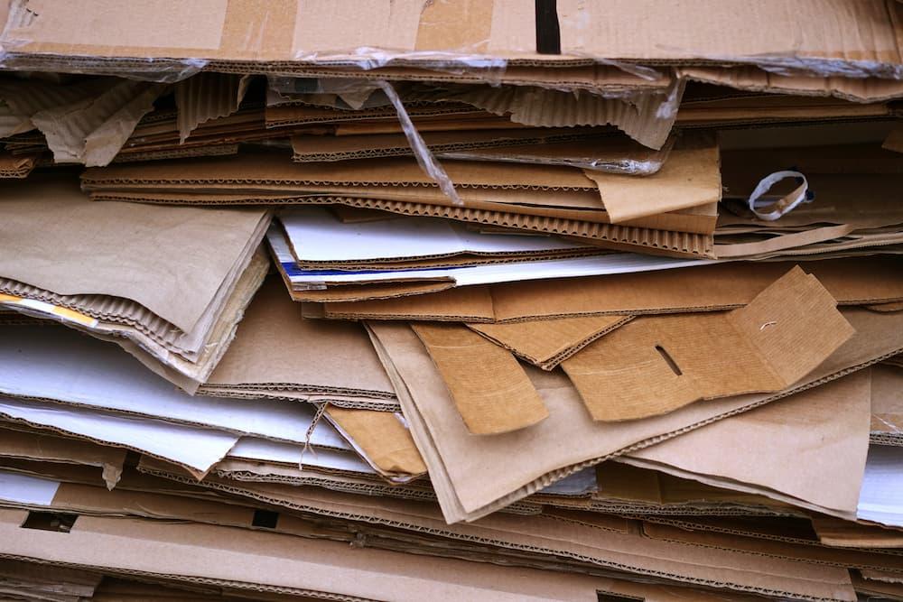 stacks of sheets of cardboard